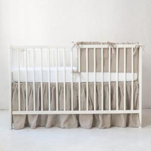 100% French Natural Linen Flax Crib Sheet and Bassinet sheet